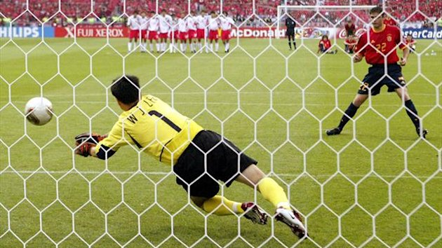 South Korea's goalie Lee Won-jae blocks Spain's Joaquin penalty kick during the penalty shootout after extra time in their World Cup quarter-final in Kwangju (Reuters)