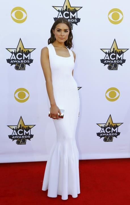 Former Miss Universe Olivia Culpo arrives at the 50th Annual Academy of Country Music Awards in Arlington