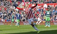 Football Soccer - Stoke City v Swansea City - Barclays Premier League - The Britannia Stadium - 2/4/16 Ibrahim Afellay celebrates after scoring the first goal for Stoke Mandatory Credit: Action Images / Craig Brough Livepic
