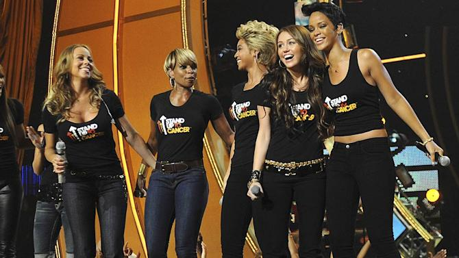 Carey Blige Knowles Cyrus Rihanna Stand Up Cancer