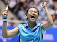 Taiwan's Tai Tzu-ying celebrates after defeating South Korea's Sung Ji-Hyun in their Japan Open semi-final on September 22. Tai dashed any hopes of a title for Japan by beating Eriko Hirose 9-21, 21-9, 21-14 in the final on Sunday