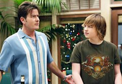 Charlie Sheen and Angus T. Jones | Photo Credits: Greg Gayne/CBS/Landov