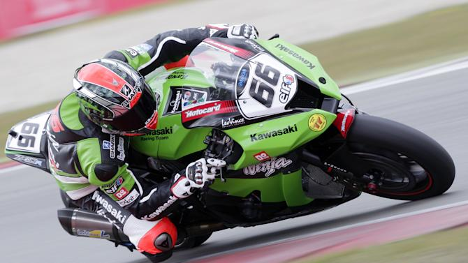 Briton Tom Sykes rides a Kawasaki during the qualification of the WC Superbike on the TT circuit in Assen, the Netherlands, on April 21, 2012. AFP PHOTO/VINCENT JANNINK netherlands out  (Photo credit should read VINCENT JANNINK/AFP/Getty Images)