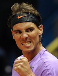 Rafael Nadal grits his teeth after winning his Brazil Open match, on February 14, 2013. Nadal cruised to a two-set win but then the 11-time grand slam winner blasted the ATP Tour for its choice of balls