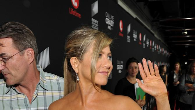 """IMAGE DISTRIBUTED FOR LIFETIME - Executive producer Jennifer Aniston arrives at Lifetime and Sony Pictures Television's premiere event  for """"Call Me Crazy: A Five Film"""" at the Pacific Design Center on Tuesday, April 16, 2013 in West Hollywood, Calif. """"Call Me Crazy"""" debuts on Saturday, April 20, 2013 at 8 PM on Lifetime. (Photo by John Shearer/Invision for Lifetime/AP Images)"""
