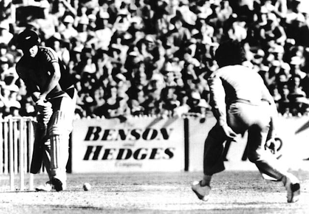 FILE PHOTO - In this Feb. 2, 1981 file photo, Australian bowler Trevor Chappell, right, bowls underarm to New Zealand batsman Brian McKechnie on the last ball of a one-day international from which New