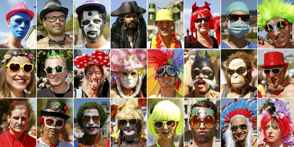 A combination of pictures show revellers during the 24th Street Parade dance music event in Zurich