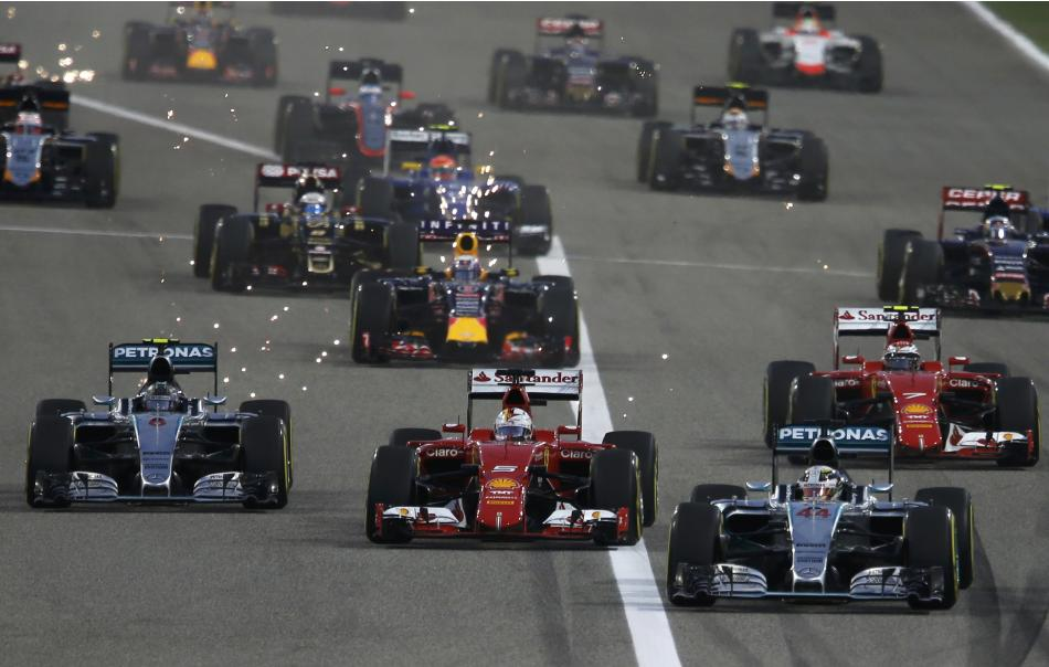 Mercedes Formula One driver Hamilton leads the pack at the start of Bahrain's F1 Grand Prix