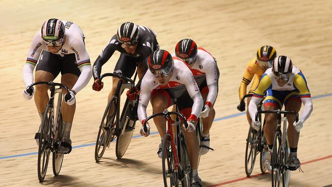 Maximilian Levy Of Germany And Kazunari Watanabe Of Japan Lead The Field In The Men's Keirin Second Round Getty Images