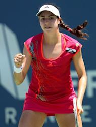 Christina McHale celebrates winning a point during her match against Misaki Doi of Japan during day six of the Mercury Insurance Open Presented By Tri-City Medical at La Costa Resort & Spa, on July 19, in Carlsbad, California. McHale won 4-6, 6-4, 6-4