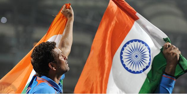 Indian batsman Sachin Tendulkar is carri