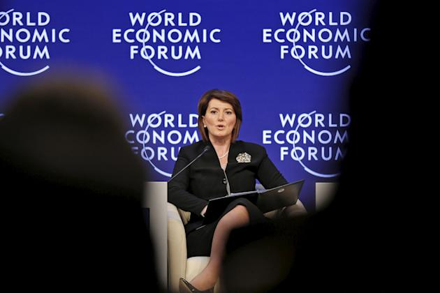 Kosovo President Jahjaga speaks on the last day of the World Economic Forum at the Dead Sea