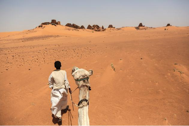 In this Thursday, April 16, 2015 photo, a tour guide walks his camel as he waits for tourists at the historic Meroe pyramids in al-Bagrawiya, 200 kilometers (125 miles) north of Khartoum. Sudan's tour