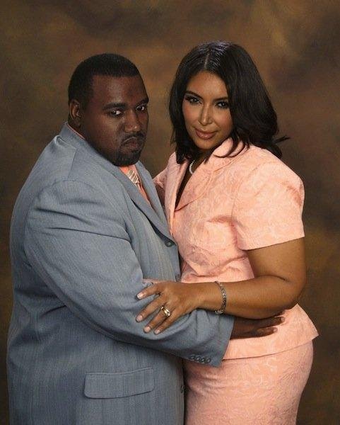 Kanye West et Kim Kardashian. Source : Planet Hiltron