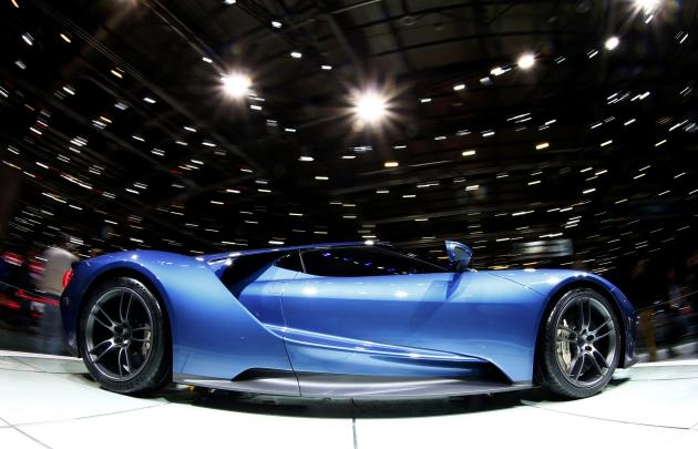 A new Ford GT supercar is seen during the second press day ahead of the 85th International Motor Show in Geneva