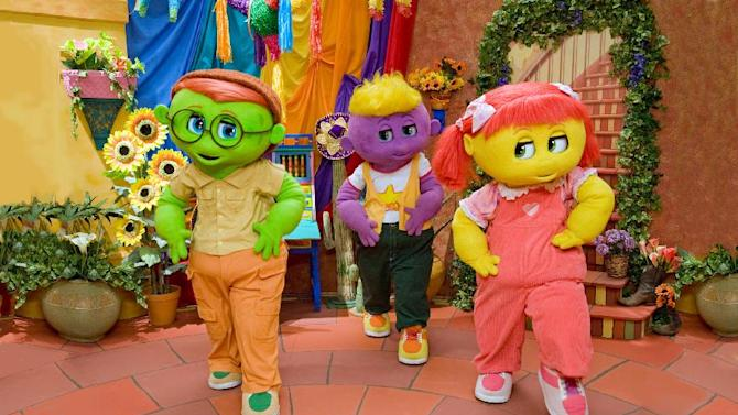 """This film image released by Kenn Viselman Presents, Inc. shows characters, from left, Goobie, Toofie and Zoozie in a scene from """"The Oogieloves in the Big Balloon Adventure."""" (AP Photo/Kenn Viselman Presents, Inc., Matthew Mitchell)"""