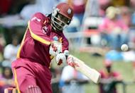 West Indies Chris Gayle is pictured in July 2012. His team, looking to win their series 2-0, posted a first innings deficit after the second day of their second Test against New Zealand, bowled out for 209 and hugely indebted to a century from Marlon Samuels