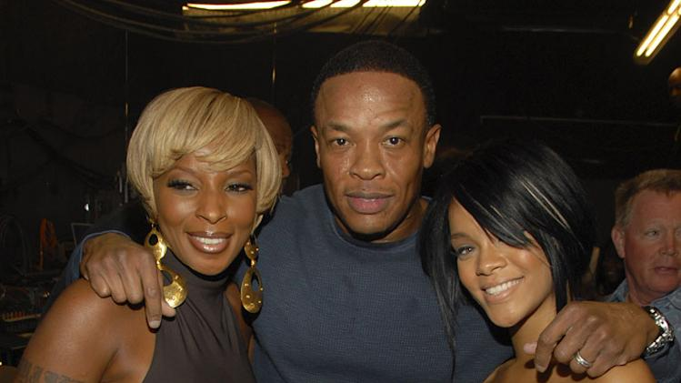 "Singer <a href=""/baselineperson/3374885"">Mary J. Blige</a>, Rapper/Producer Dr. Dre and Singer Rihanna backstage at the 2007 MTV Video Music Awards at The Palms."
