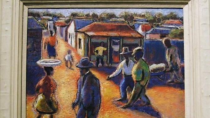 "This undated photo provided by The City of Tshwane on Monday, Nov. 12, 2012, shows a Gerard Sekoto ""street scene"" oil on canvas. Police in South Africa said Monday that  robbers posing as visitors to an art museum stole more than $2 million worth of art including ""Street Scene"" from an exhibit near the country's capital. (AP Photo/The City of Tshwane)"
