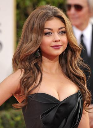 FILE - This Jan 13, 2013 file photo shows actress Sarah Hyland at the 70th Annual Golden Globe Awards in Beverly Hills, Calif. Hyland, 22, is a swimsuit model for OP.  (Photo by John Shearer/Invision/AP, file)