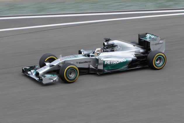 Mercedes Formula One driver Hamilton of Britain drives during the second practice session of the Chinese F1 Grand Prix at the Shanghai International circuit