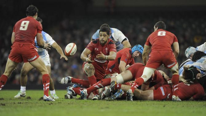 Wales' Toby Faletau retrieves the ball during their international rugby union match against Argentina at the Millennium Stadium in Cardiff