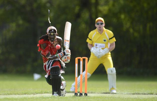 Nissan Jonathan Ole Meshami of the Kenyan hits ball during match against English team in South London