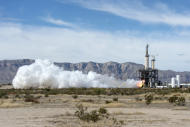 Blue Origin test fires a powerful new hydrogen- and oxygen-fueled American rocket engine at the company's West Texas facility.