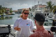British-born Australian swimmer, Penny Palfrey (L), pictured talking to the press in Havana, on June 28. Palfrey is in Cuba to attempt to swim -- without the aid of a shark cage -- across the Florida Strait from Havana to Key West in the US, to celebrate the 20th anniversary of the Ernest Hemingway Nautical Club of Havana