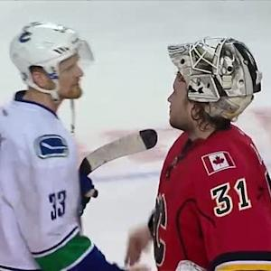 Flames and Canucks handshake