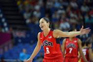 "American Sue Bird ceberates after scoring during her women's basketball semi-final against Australia at the London Olympics on August 9. ""France is that team that is on fire. It's the team that's got that buzz around them,"" she said of Saturday's final"