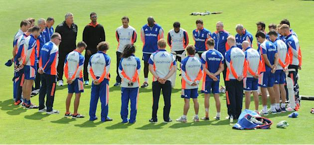 The England cricket team holds a one minute silence in memory of the 10 year anniversary of the 7/7 London attacks which killed 52 people, during net practice in preparation for the first Ashes Test m