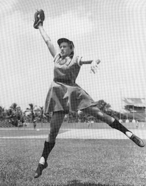"""This image provided by the National Baseball Hall of Fame shows Rockford Peaches' Dorothy Kamenshek. Kamenshek, who died May 17, 2010, was a star of the All-American Girls Professional Baseball League who helped inspire the lead character in the movie """"A League of their Own. """" The real-life inspirations for the film """"A League of Their Own"""" are taking a trip to the National Baseball Hall of Fame, Friday, Sept. 21, 2012, as part of their reunion being held in central New York. (AP Photo/National Baseball Hall of Fame, Cooperstown)"""