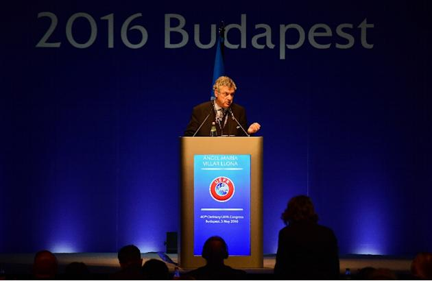 UEFA vice president Angel Maria Villar of Spain gives a speech during the 40th Ordinary UEFA Congress at the Hungexpo Fair Center in Budapest on May 3, 2016