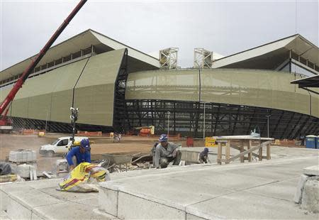 A view of the construction of the Arena Pantanal soccer stadium in Cuiaba