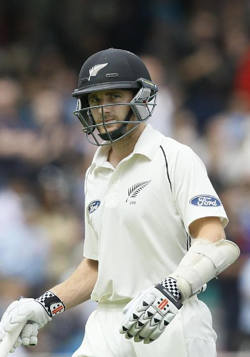 New Zealand's Kane Williamson leaves the pitch after being caught by Joe Root off the bowling of England's Ben Stokes during the fifth day of the first Test match between England and New Zeala