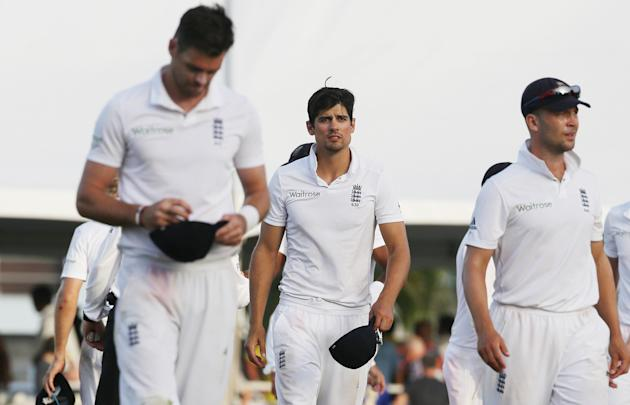 Cricket: England's Alastair Cook looks dejected after defeat in the third test