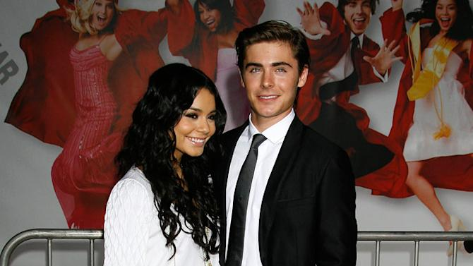 """Vanessa Anne Hudgens and Zac Efron arrive at the Los Angeles Premiere of """"High School Musical 3"""" at the Galen Center at the University Of Southern California on October 16, 2008 in Los Angeles, California."""