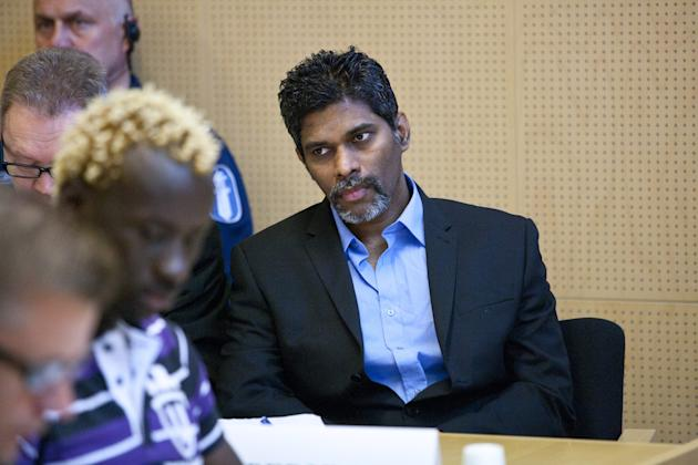 Singaporean Wilson Maj Perumal sits in the Lapland district court in Rovaniemi, Finland, on Thursday June 9, 2011. Nine players from Zambia and Georgia and a Singaporean man accused of bribing them went on trial Thursday in a match-fixing investigation that has rocked the Finnish football league. The probe centers on Wilson Raj Perumal, also suspected by world governing body FIFA of fixing international games involving African and Asian national teams. (AP Photo/Lehtikuva, Kaisa Siren) FINLAND OUT NO SALES