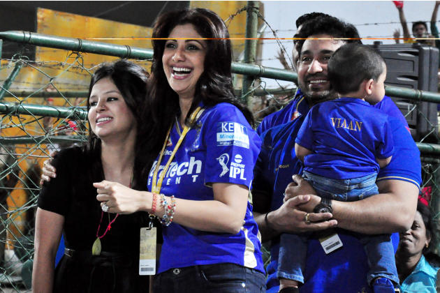 Rajasthan Royals owner Raj Kundra and Shilpa Shetty with Sakshi, wife of MS Dhoni during the match between Chennai Super Kings and Rajasthan Royals at Sawai Mansingh Stadium, Jaipur on May 12, 2013. (