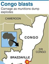 Map locating Congo and Brazzaville. At least five strong explosions rocked the Mpila military barracks in the east of the capital between 8:00 am (0700 GMT) and 10:45 am Sunday after a blaze in two munitions depots