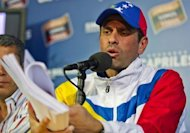 Venezuelan presidential election runner-up Henrique Capriles holds a press conference in Caracas, on April 16, 2013