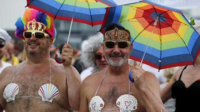 Revellers take part in the annual CSD gay parade in Cologne