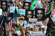 """Iranian protestors demonstrate against a film mocking Islam in Tehran on September 14, 2012. Iran announced it was yanking its entry in the Oscars race because of the """"intolerable insult"""" of the US-made anti-Islam film that has angered Muslims in several countries"""