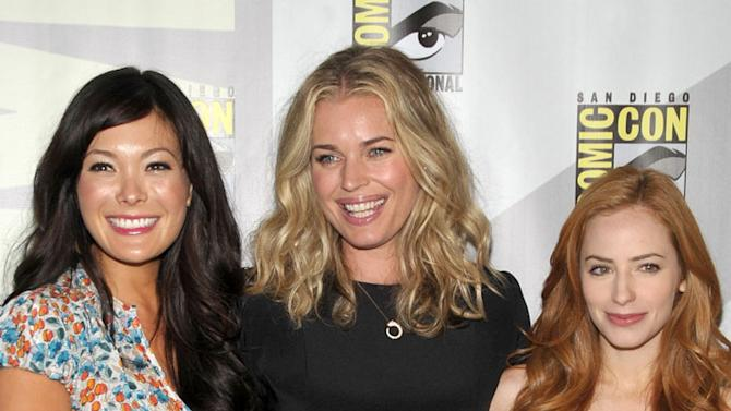 """Lindsay Price, Rebecca Romijn and Jamie Ray Newman attend the """"Eastwick""""†pilot screening at Comic-Con 2009 held at San Diego Convention Center on July 25, 2009 in San Diego, California."""