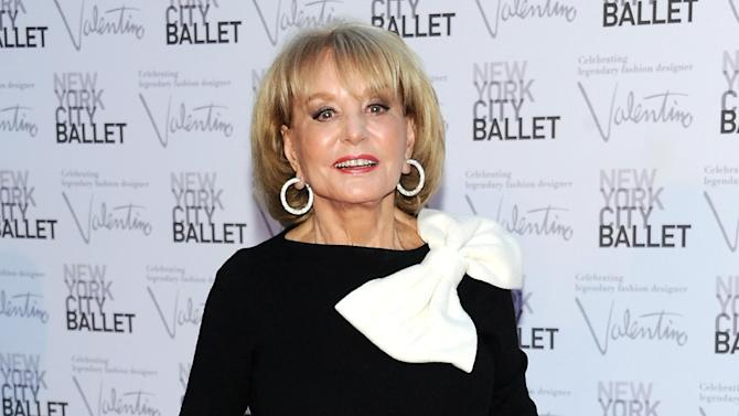 "FILE - This Sept. 20, 2012 file photo shows Barbara Walters, host of the ABC daytime talk show ""The View,"" arriving at the New York City Ballet Fall Gala honoring fashion designer Valentino Garavani at Lincoln Center in New York. Walters says the paparazzi were lying in wait, but she's not saying anything about her future employment. Walters returned to ""The View"" on Monday, after reports circulated widely the previous Friday that she would be retiring from television in May 2014. The television news legend is 83 years old. She said photographers were waiting for her as she went to work on Monday, expecting she would discuss her future plans on the air. Instead, Walters had nothing to say about whether or not the stories were true, saying ""I have no announcement to make."" Walters created ""The View"" in 1997.  (Photo by Evan Agostini/Invision/AP, file)"