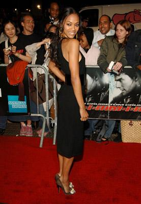 Zoe Saldana at the NY premiere of Paramount's Mission: Impossible III
