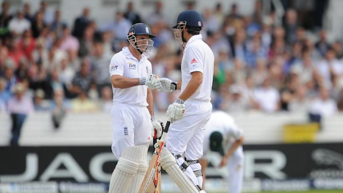 Andrew Strauss, left, and Alastair Cook put on 65 for the opening wicket