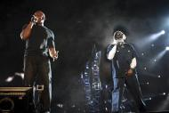 Dr. Dre and Snoop Dogg perform at the 2012 Coachella Valley Music and Arts Festival in Indio, California