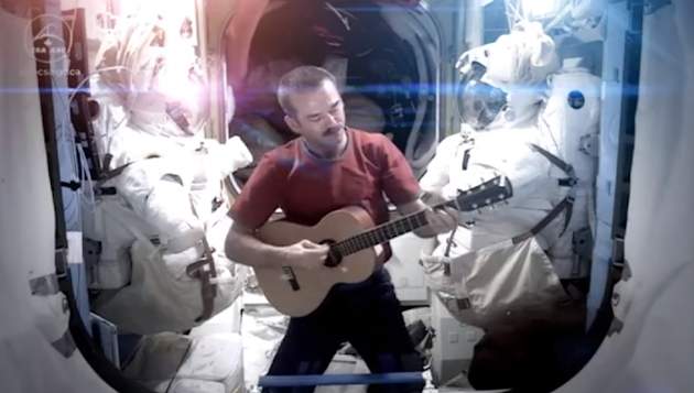 Chris Hadfield singing aboard the ISS (The Atlantic Wire)